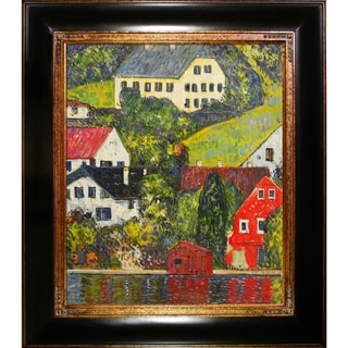 Gustav Klimt 'Houses at Unterach on the Attersee' Hand Painted Framed Canvas Art