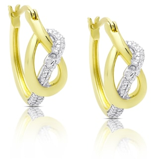 Finesque Gold Over Sterling Silver Diamond Accent Infinity Design Hoop Earrings
