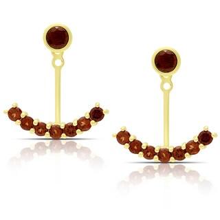 Dolce Giavonna Gold Over Sterling Silver Garnet Jacket Earrings