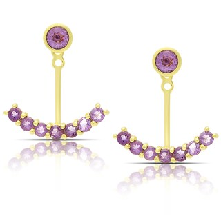 Dolce Giavonna Gold Over Sterling Silver Amethyst Jacket Earrings