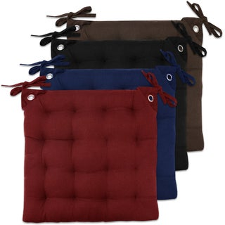 Multicolor Cotton 16-inch x 16-inch Tufted Solid Chair Pad Pair With Tiebacks (Set of Two)