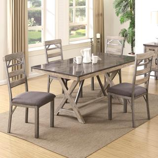 Craftsman Architectural Industrial Designed Dining Set with Natural Bluestone Laminated Top