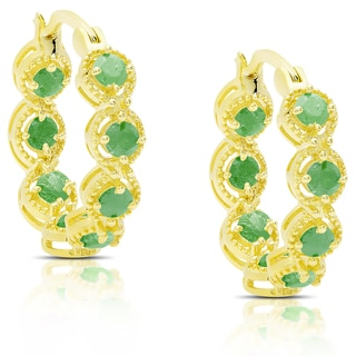 Dolce Giavonna Gold Over Sterling Silver Emerald Hoop Earrings