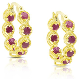 Dolce Giavonna Gold Over Sterling Silver Ruby Hoop Earrings