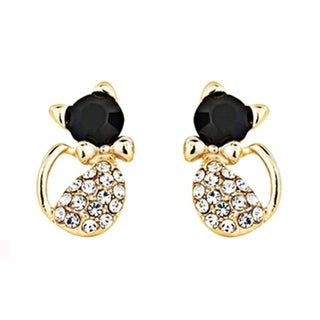 Gold Crystal and Black Cat Stud Earrings with Clear Crystal Accents