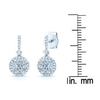 14k White Gold 1/2ct TDW Diamond Cluster Halo Drop Earrings (H-I, SI1-SI2)