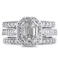 Annello by Kobelli 14k White Gold 1ct TDW Emerald and Round-cut Diamond Art Deco Halo 3-piece Bridal