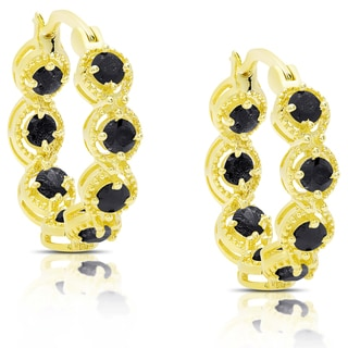 Dolce Giavonna Gold Over Sterling Silver Sapphire Hoop Earrings