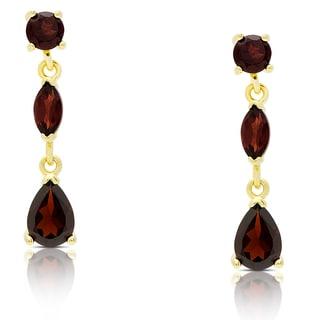 Dolce Giavonna Gold Over Sterling Silver Garnet Teardrop Dangle Earrings