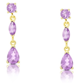 Dolce Giavonna Gold Over Sterling Silver Amethyst Teardrop Dangle Earrings
