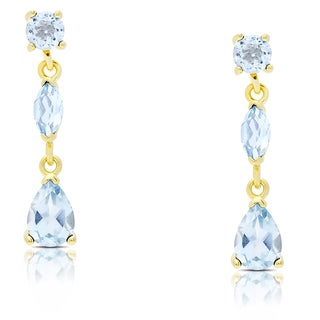 Dolce Giavonna Gold Over Sterling Silver Blue Topaz Teardrop Dangle Earrings