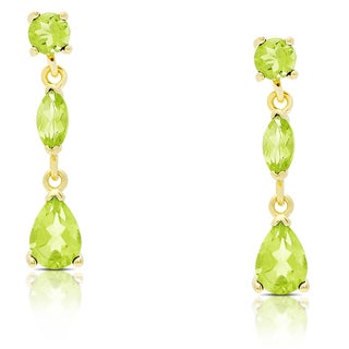 Dolce Giavonna Gold Over Sterling Silver Peridot Teardrop Dangle Earrings