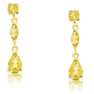 Dolce Giavonna Gold Over Sterling Silver Citrine Teardrop Dangle Earrings