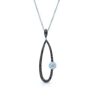 14k White Gold 1/2ct TDW Black and White Diamond Long Tear Drop Pendant (H-I, SI1-SI2)
