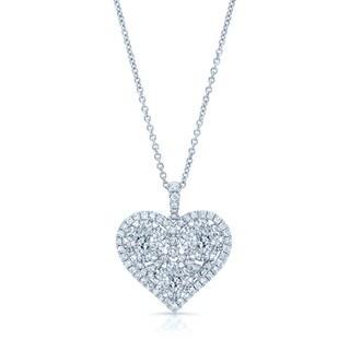 14k White Gold 1 2/5ct TDW Triple Cluster Heart Pendant (H-I, SI1-SI2)