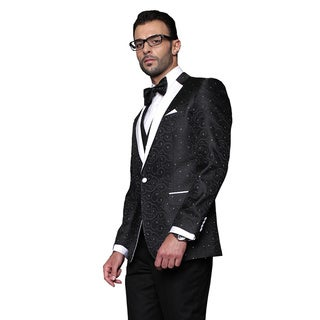 Bellagio Statement Black Wool Tuxedo (Option: 44l)