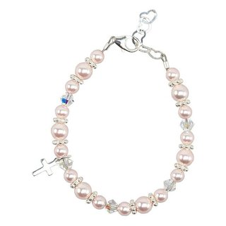 Christening Pink Swarovski Silver Baby Bracelet