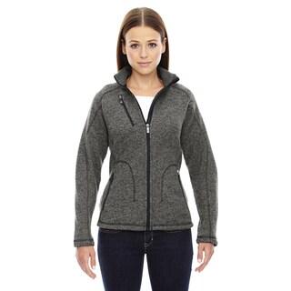 Peak Women's Heathered Charcoal Sweater Fleece Jacket