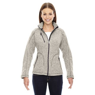 Peak Women's 832 Black/Off-white Polyester Light Heather Sweater Fleece Jacket
