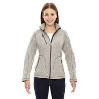 Peak Women's 832 Black/Off-white Polyester Light Heather Sweater Fleece Jacket