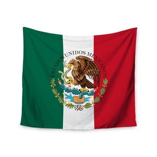 """Kess InHouse Bruce Stanfield """"Mexico Flag And Coat Of Arms"""" Red Green Wall Tapestry 51'' x 60''"""