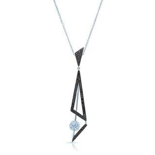 14k White Gold 7/8ct TDW Black and White Diamond Elongated Triangles Pendant (H-I, SI1-SI2)