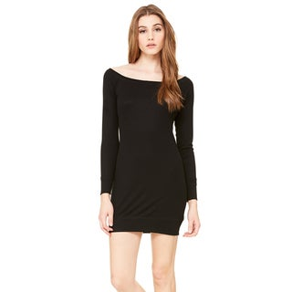 Women's Black Polyester and Viscose Lightweight Sweater Dress