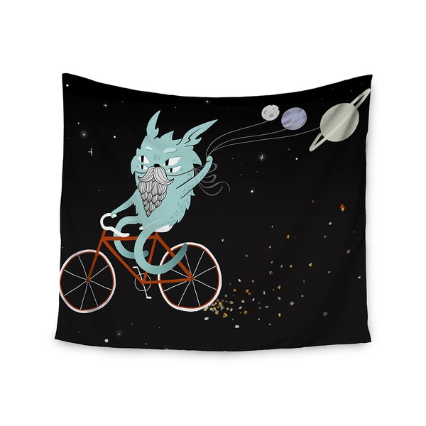 "Kess InHouse Anya Volk ""Bunny In Space"" Red Fantasy Wall Tapestry 51'' x 60''"