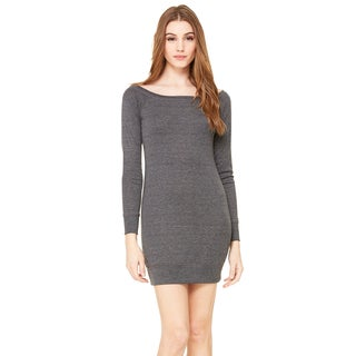 Lightweight Women's Dark Grey Heathered Sweater Dress