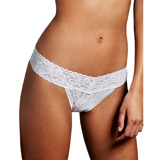 Maidenform Women's White Lace Cotton Thong