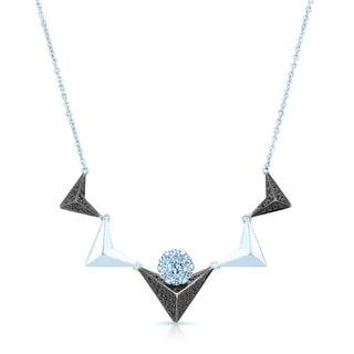 14k White Gold 1/2ct TDW Black and White Diamond Chevron Necklace (H-I, SI1-SI2)