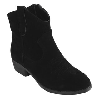 Qupid Women's Black Faux-suede Ankle Booties