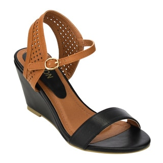 Beston Women's Black/Brown Faux Leather Sandals