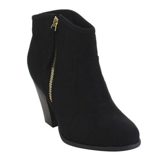 BESTON GD52 Women's Side Zip Chunky Heel Riding Ankle Booties