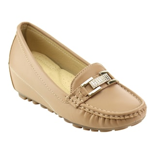 Nature Breeze Beston Women's Beige Faux Leater Wedge Loafers