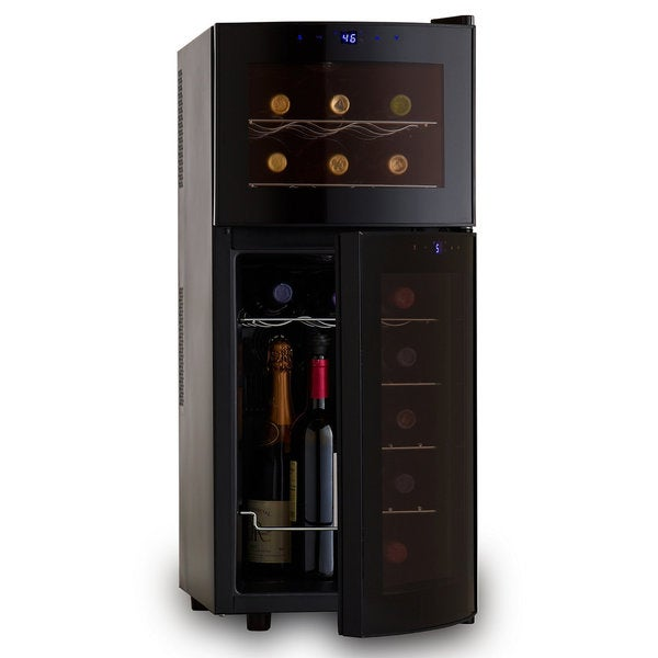 Wine Refrigerator Reviews >> Wine Enthusiast Silent Dual Zone 21-bottle Curved-door Wine Refrigerator - Free Shipping Today ...