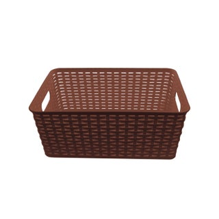 YBM Home ba413 Plastic Rattan Storage Box Basket Organizer (Option: Brown)