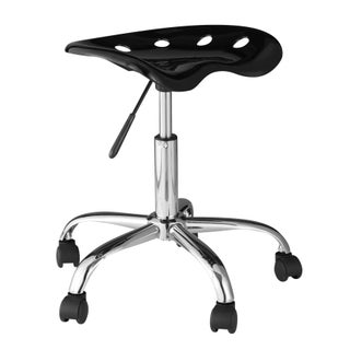 Comfort Products OneSpace 60-101401 White/Black Plastic Computer Task Chair with Tractor Seat (Option: Black - Black Finish)