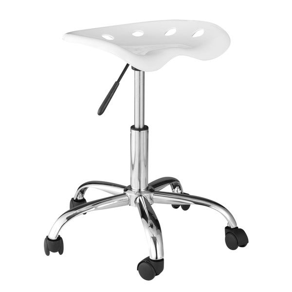 Comfort Products OneSpace 60 101401 White/Black Plastic Computer Task Chair  With Tractor Seat