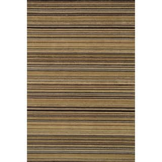 Hand-hooked Barrow Sage/ Multi Striped Wool Rug (3'6 x 5'6)