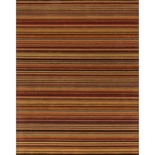 Hand-hooked Barrow Spice Striped Wool Rug (7'6 x 9'6)