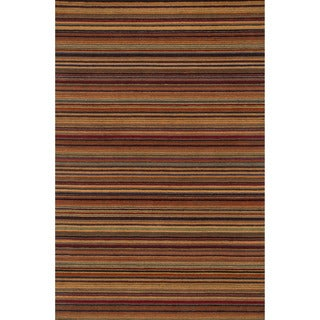 Hand-hooked Barrow Spice Striped Wool Rug (5'0 x 7'6)