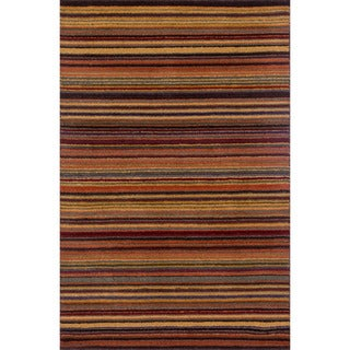 Hand-hooked Barrow Spice Striped Wool Rug (3'6 x 5'6)