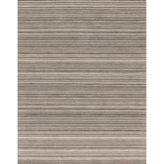 Hand-hooked Barrow Silver Striped Wool Rug (7'6 x 9'6)