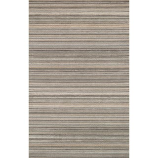 Hand-hooked Barrow Silver Striped Wool Rug (5'0 x 7'6)