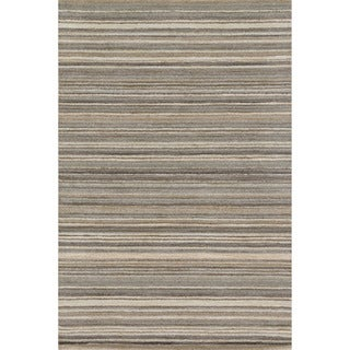 Hand-hooked Barrow Silver Striped Wool Rug (3'6 x 5'6)