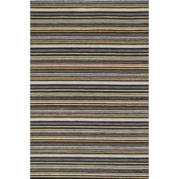 "Hand-hooked Barrow Grey/ Multi Striped Wool Rug (3'6 x 5'6) - 3'6"" x 5'6"""