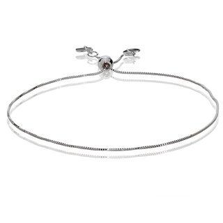 Mondevio 14k White Gold 0.6mm Box Adjustable Italian Chain Bracelet, 7-9 Inches