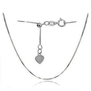 Mondevio 14k White Gold .6mm Box Adjustable Italian Chain Necklace, 14-20 Inches|https://ak1.ostkcdn.com/images/products/12143190/P18998682.jpg?impolicy=medium