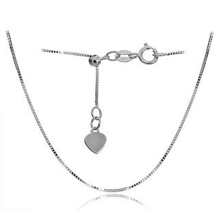 Mondevio 14k White Gold .6mm Box Adjustable Italian Chain Necklace, 14-20 Inches